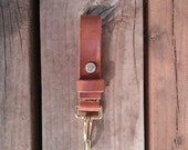 Leather Key Lanyard with Solid Brass Bridle Clip