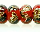 Fine art lampwork beads boro beads set of 6 rose ruby with brown black and yellow handmade glass beads for jewelry making by paulbead