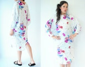 80's White Vintage Abstract Watercolor Floral Print Draped Back Dress / Dolman Sleeve / Corset Cuffs