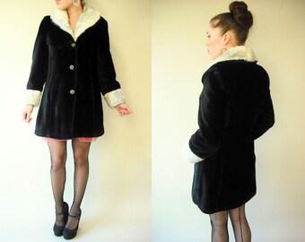 Vintage Rocker Glam Two Tone Faux Fur Coat / Gold Metallic Buttons / Princess Coat