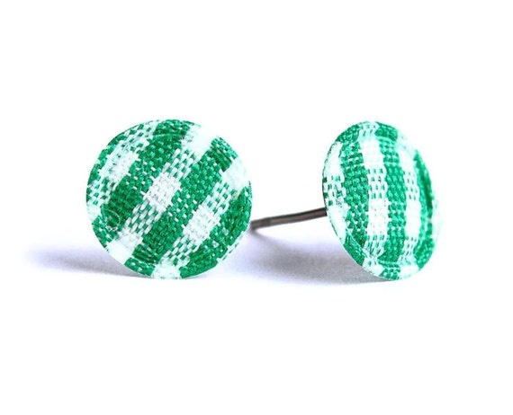 Green and white plaid round dot padded fabric stud earrings (325) - Flat rate shipping