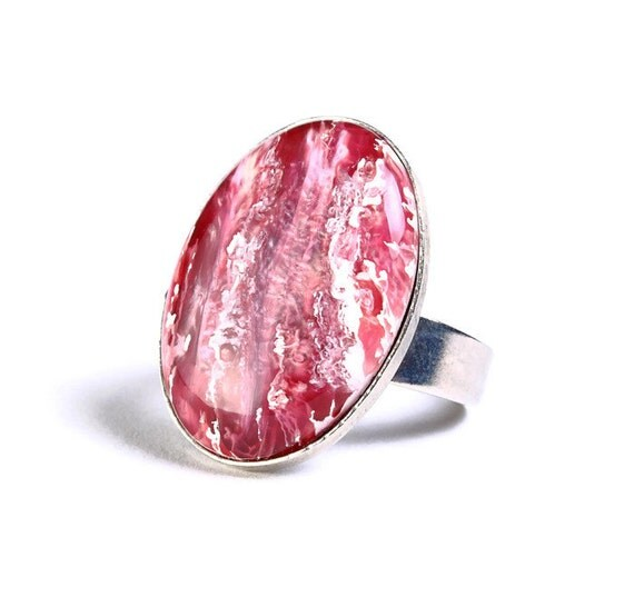 Pink white silver adjustable ring cocktail ring (694-3) - Flat rate shipping