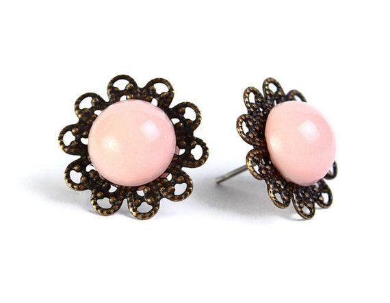 Vintage pink hypoallergenic surgical steel post earrings (476) - Flat rate shipping