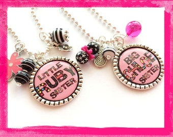 Personalized Sister Necklace - BEZEL Jewelry - Big sis or Little sis  for Girls #B32