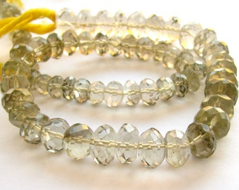 Champagne Quartz Faceted Rondelles. FULL STRAND. LARGE BEADs (11w32)