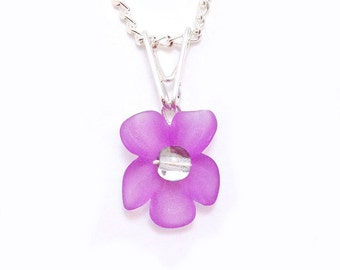 Violet Purple Orchid Wire Wrapped Flower Pendant - Custom Center and Free Silver Curb Chain