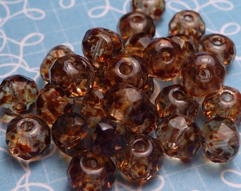 Clear Double Picasso Faceted Glass Donut Beads 3x5mm - 10pc