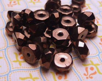 Bronze Faceted Glass Beads 3x6mm - 20pc