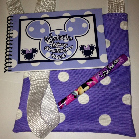 Disney Autograph Book  Purple Personalized Mickey Mouse and Minnie Mouse with Matching Bag and Pen