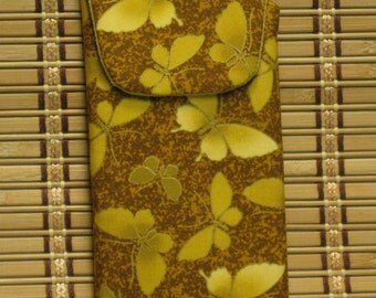 Eyeglass Case / Cellphone Case---Gold Butterflies  with Magnetic Closure