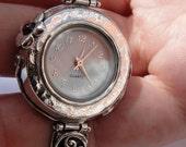 Israel Original Handmade Fine Silver Garnet Bracelet Watch (s w2943)