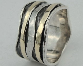 Fabulous Handmade 9K  Gold Silver Swivel Ring Size 8 (I r474m)