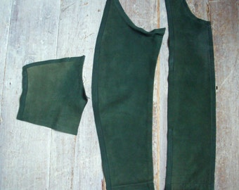 Green Leather Pieces, Dark Moss / Forest, 3 Remnants, Vintage Nubuck, Buttersoft Real Hide, Thick Strong, Crafts, DIY, Sewing, Free Shipping