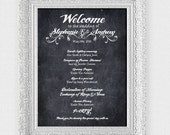 large faux chalkboard custom wedding sign welcome and order of service - printable file - wedding welcome sign