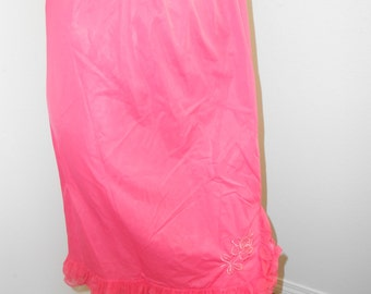 Hot Pink Nylon Half Slip w/Ruffles & Appliqued Rose - Size S-M