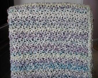 Aquamarine/Purple/Off-White Afghan Throw Blanket
