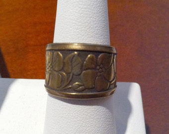 Antique Gold Art Deco Flower Filigree Adjustable Ring by Lauri Jon Studio City (TM)