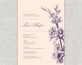 Vintage Romance Bridal Shower Invitation - sketch hand drawn botanical champagne peach & plum eggplant
