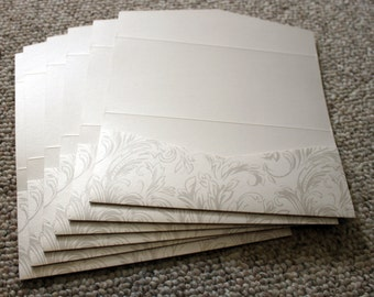 "4"" x 9"" Pocket Invitations - Set of 6: Taupe, Tan and Pearl, Off White, Cream with Flourish design"