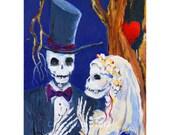 Skeleton Wedding, day of the dead, oil painting on canvas, skeleton bride, original, skeleton groom, October wedding, halloween decor