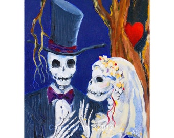 Skeleton Wedding, day of the dead, oil painting on canvas, skeleton bride, original, skeleton groom, October wedding, halloween decor