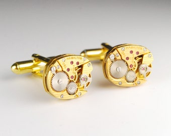 Steampunk Cufflinks Vintage Hamilton Striped Luxury Gold Watch Movement Mens Gear Cuff Links by Steampunk Vintage Design