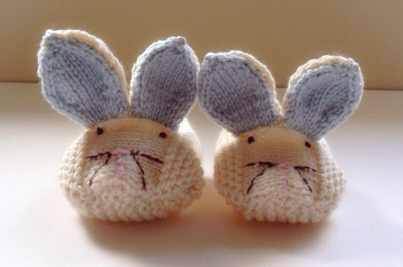 Baby Bunny Slippers Knitted Bunny Booties by taffertydesigns