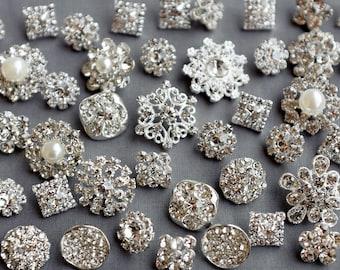 SALE 10 Assorted Rhinestone Button Brooch Embellishment Pearl Crystal Wedding Brooch Bouquet Cake Hair Comb Shoe Clip BT574