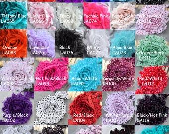 1 Yard 14 pcs Shabby Flowers Solid Polka Dot Shabby Chic Rose Trim Printed Shabby Flower Chiffon Rose Trim DIY Wholesale LA999