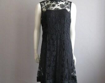 60s black LACE cocktail dress sheer size medium