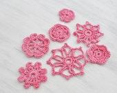 Crochet Applique Flowers - Pink Floral - Accent - Accessory - Floral Doilies - Small