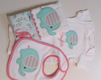 Baby Girl Elephant Onesie,Bib and Burpcloth Set with Cute Baby Elephant Applique