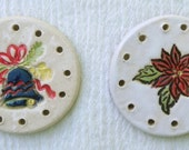 Ceramic Centers Bases for Pine Needle Baskets / Ornaments - Bell or Poinsettia