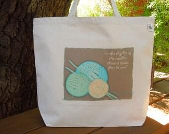 Natural cotton canvas tote - Knitting project bag - Carry yarn tote - Large canvas knitting bag - The zen of knitting