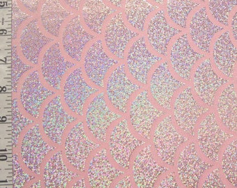 Pink Silver Large Fish Scale Spandex