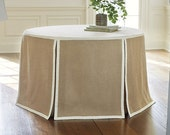 Round table skirt linen with grosgrain ribbon trim, tableskirt choose your own color