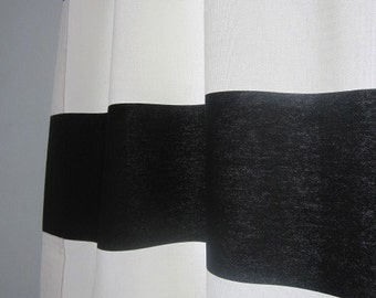 Pair of color block cotton curtain panels,  6 parts, rod pocket drapes white and navy blue