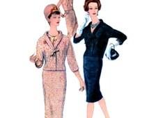 UNCUT Vintage 50's VOGUE Paris Pattern 1460 by Castillo - FF - Lovely Elegant Suit & Blouse with Bow Trimming - with Label - Size 16 bust 36