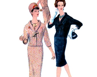 UNCUT Vintage 50's VOGUE Paris Pattern 1460 by Castillo - FF - Lovely Elegant Suit & Blouse with Bow Trimming - with Label - Size 16 bust 36