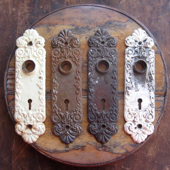4 Vintage Door Knob Back Plates Keyhole Knob Back Plates