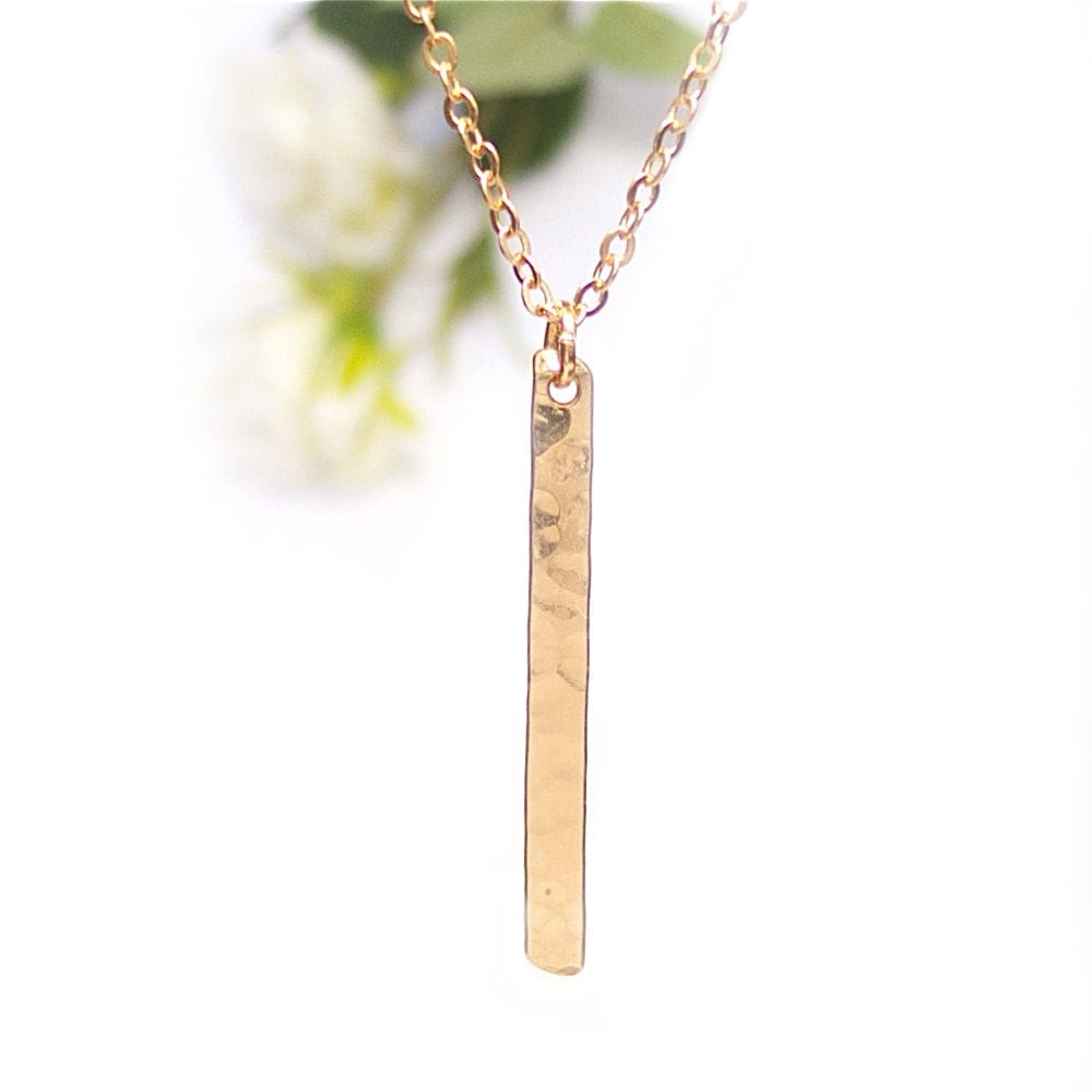 gold bar necklace vertical bar necklace dainty