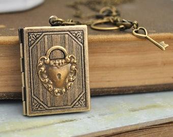 antiqued brass book style locket necklace - KEY To MY HEART -antiqued brass heart shaped key and lock locket set