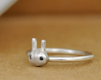 sterling silver stack ring, PETITE RABBIT RING, black onyx stone, thin band, skinny ring, bunny ring,