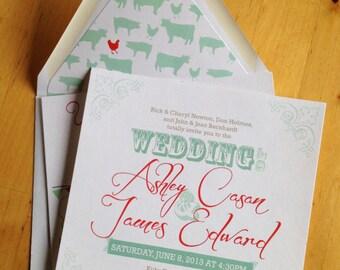 Barn Wedding Invitation Set, Farm Invitation, Rustic Wedding Invitation - Teal/Red