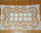 Vintage Filet Lace Rectangular Doily - Tray Liner - Geometric & Floral