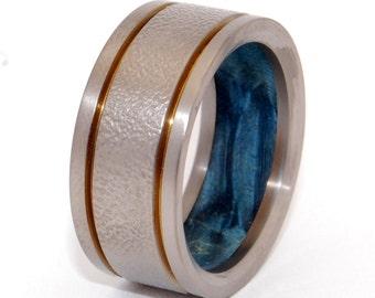 Titanium wedding ring, wedding band, wooden ring, men's ring, woman's ring, something blue, wood, titanium ring, bronze - TITAN