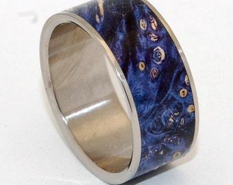 Titanium wedding ring, wedding band, wooden ring, men's ring, woman's ring, box elder wood, titanium ring, something blue - SHOOTING STARS