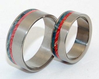 Wooden Wedding Ring, Wood Rings, titanium wedding rings, titanium rings, mens rings, womens rings, something blue - WILD BLUE YONDER