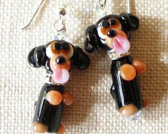 Black Dachshund Earrings, Weiner Dog, Hotdog, Dachhound, Puppy, Black and Tan, Dog Earrings, Doxie