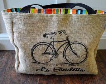 Handmade Bicycle - Bike Burlap Market Tote Bag